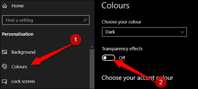 Click Colors in the left pane, then turn Transparency Effects to Off