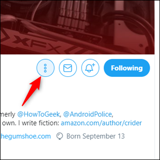 Click the three vertical dots to the right of profile page of the account you want to add.