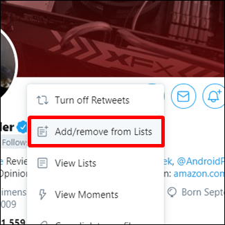 "Click ""Add/Remove from Lists."""