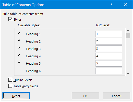 select the heading styles you want to use