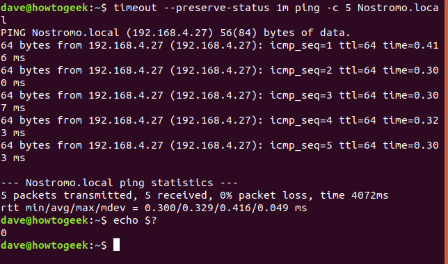 timeout --preserve-status 1m ping -c 5 Nostromo.local in a terminal window