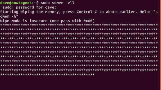 output from sdmem in a terminal window