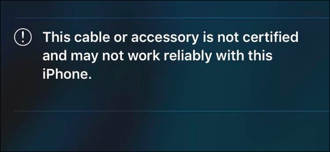 """The """"This cable or accessory is not certified"""" notification that appears on an iPhone when you plug in an uncertified device."""