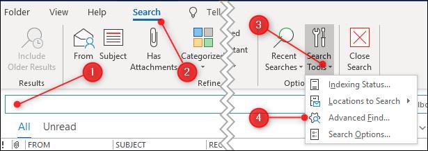 "The ""Advanced Find"" menu option"