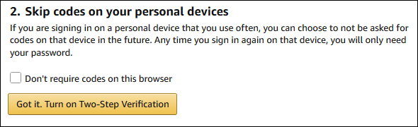 The to-step verification confirmation button