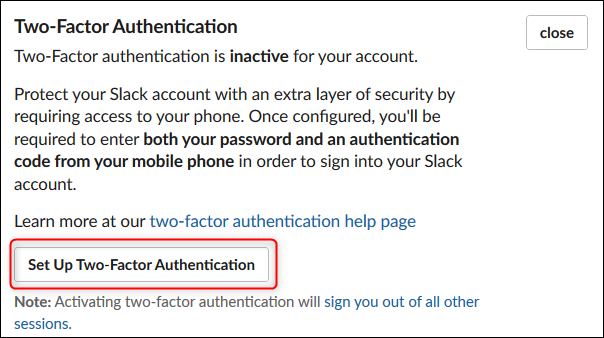 "The ""Set Up Two-Factor Authentication"" button"