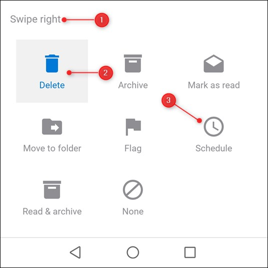 The swipe options showing the current action and all possible actions