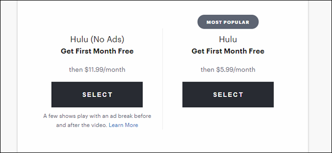 The Hulu signup page, with its nice, low prices.