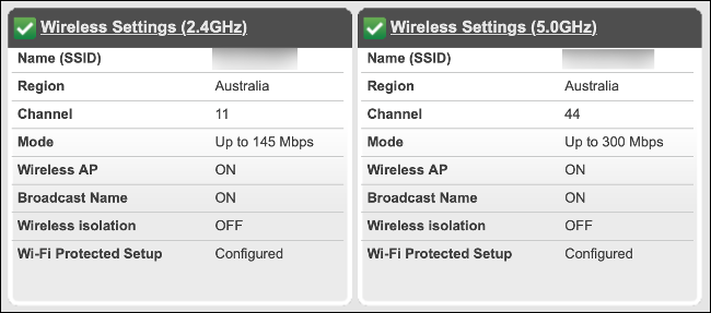 Router menu with both 2.4 and 5 GHz Wi-Fi bands check marked.