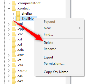 The context menu with the Delete command highlighted.