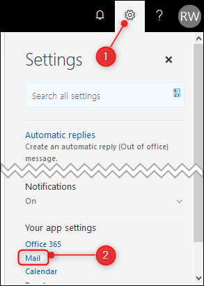 The classic Outlook settings