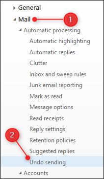 "The ""Undo Sending"" option"