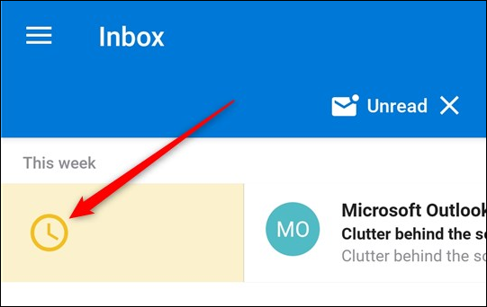 The Schedule action being applied to an email in the Inbox