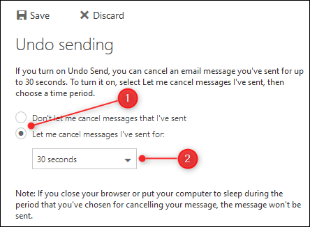 "The ""Undo Sending"" button and dropdown"