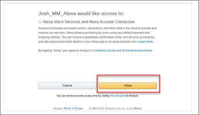 Alexa voices services permissions prompt with box around allow button.