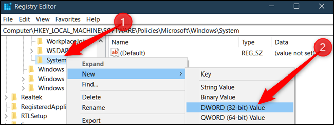 Right-click the System key, select New > DWORD (32 bit) Value, then name it DisableAcrylicBackgroundOnLogon