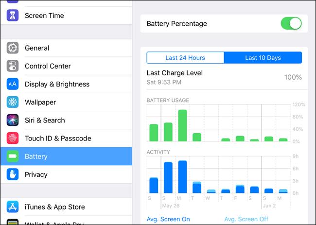 iOS Battery screen in Settings