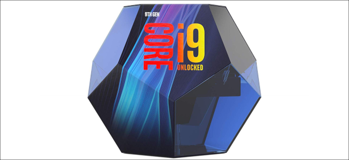 The retail packaging for Intel's Core i9-9900K CPU.