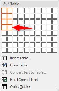 Create 2x4 table