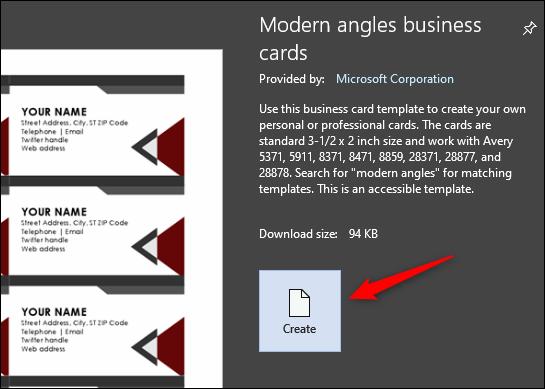 Create business card template