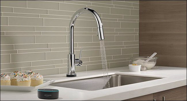 A delta faucet controlled by an Amazon Echo