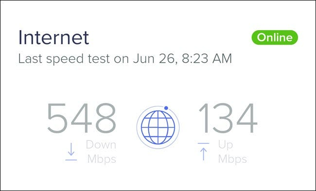 An internet speed test showing 548 Mbps download speed, and 134 Mbps upload speed.