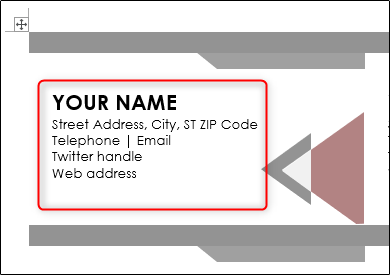 Enter information in the business card template