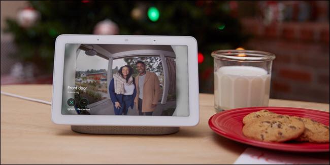 Google Home hub showing nest hello video