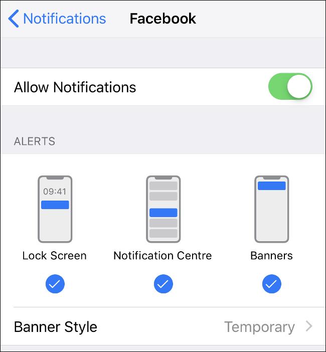 Screenshot of the Notifications menu in iOS.