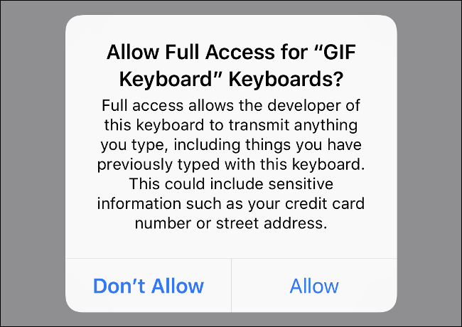"""Screenshot of iOS warning against enabling """"Full Access"""" for third party keyboards."""