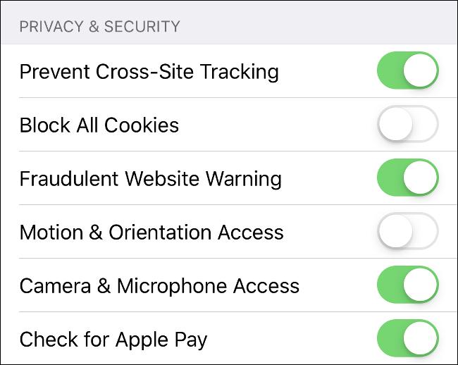 Screenshot of Safari's Privacy and Security settings for iOS.