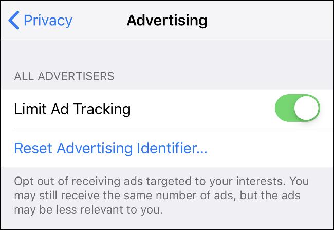 "The ""Advertising"" menu screen on iOS."
