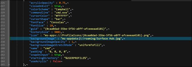 Windows terminal json configuration file, showing a custom background option.