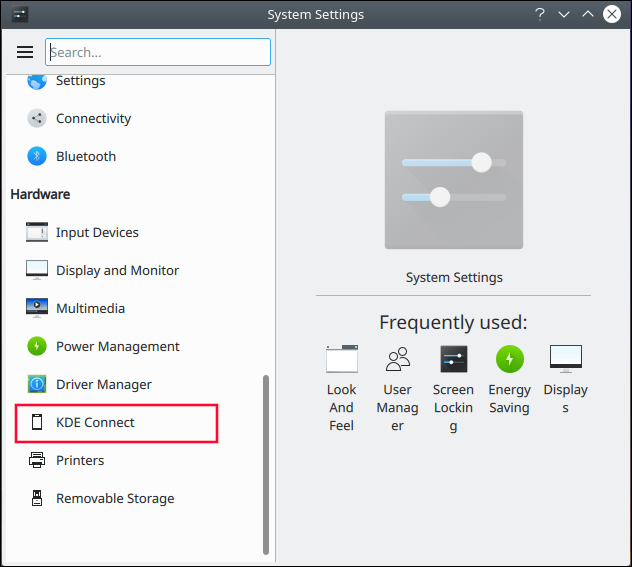 KDE System Settings dialog