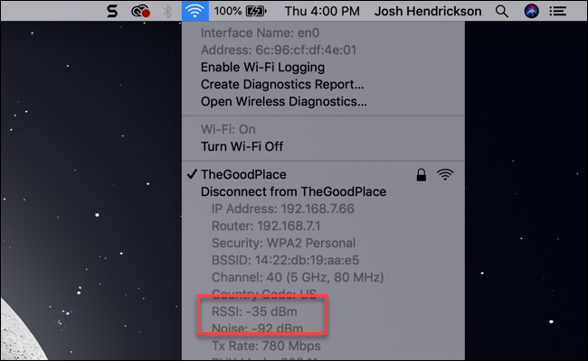 MacOS Wi-Fi submenu showing RSSI entry measured in dBm.