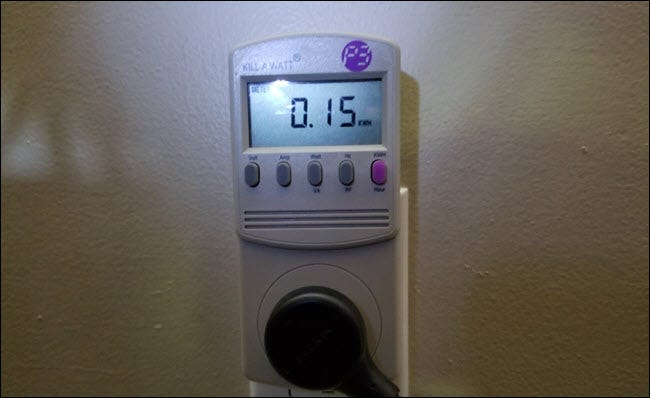 Kill a watt meter showing .15 kWh used.