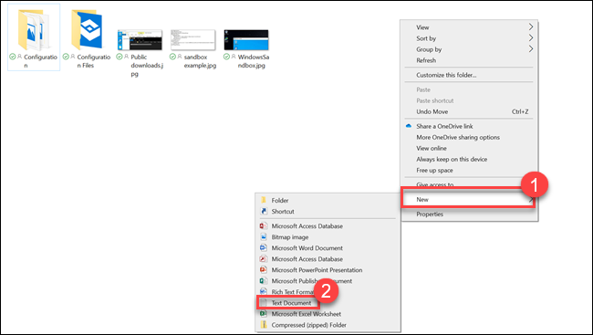 File explorer submenu with arrows pointing to New and Text Document