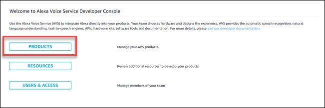 Alexa developer dialog with box around Products option.