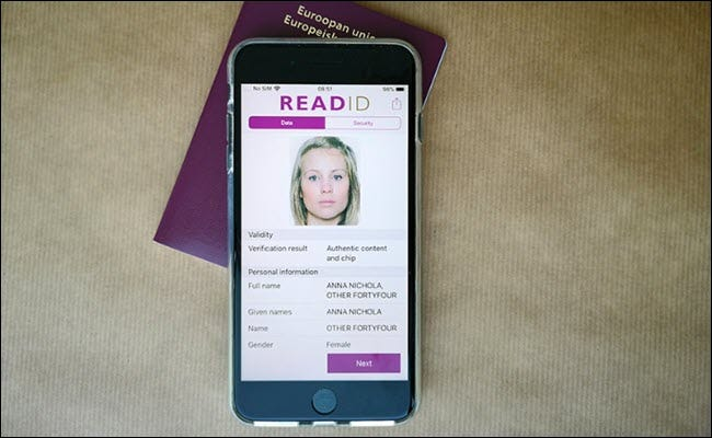 ReadID app showing a digitized passport on iPhone.