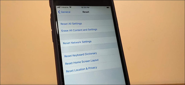 The iPhone Reset menu.