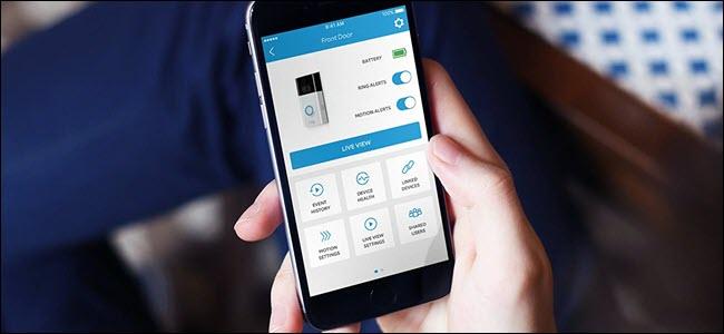 Ring door app showing various options for interacting with doorbell.