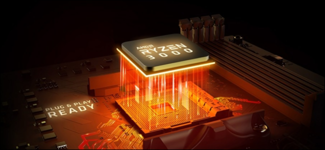 Ryzen 3000 CPU with orange light streaking into the motherboard socket.