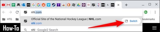 Type the text of the tab you're looking for, then click Switch