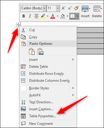 Select Table properties option