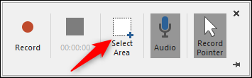 Select area to record in record dock