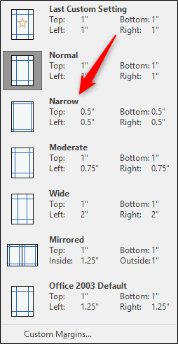 Select narrow margins