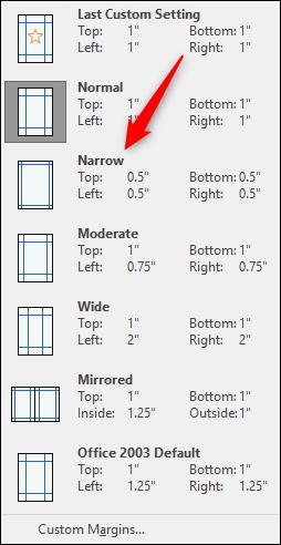 Select narrow margins