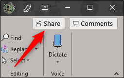 Select the share button in PowerPoint