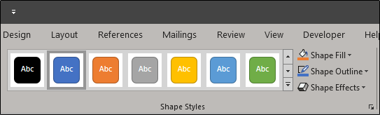 Shape styles for formatting shape