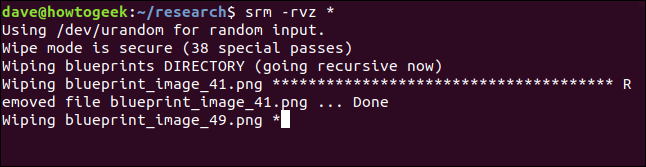srm starting to process in a terminal window